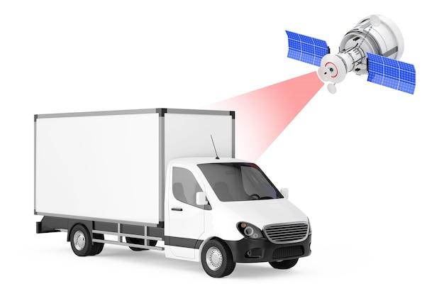Moderna trasmissione via satellite al furgone di consegna del carico industriale commerciale bianco su sfondo bianco. rendering 3d