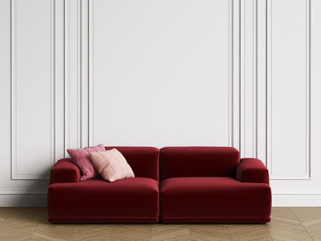 Divano moderno design scandinavo in interni. pareti con modanature, pavimento a spina di pesce in parquet. copia spazio, rendering 3d