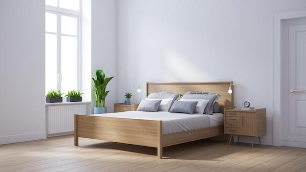 Interno scandinavo moderno della camera da letto