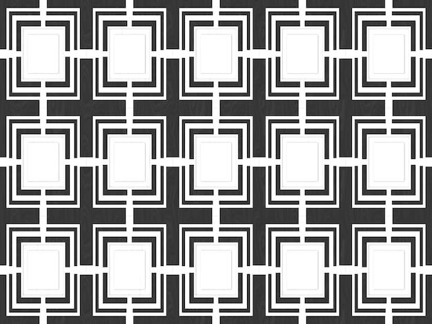 Mattonelle senza giunte moderne del reticolo del quadrato bianco su priorità bassa di legno nera.