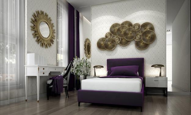Camera da letto senior moderna e design d'interni e opere d'arte in stile