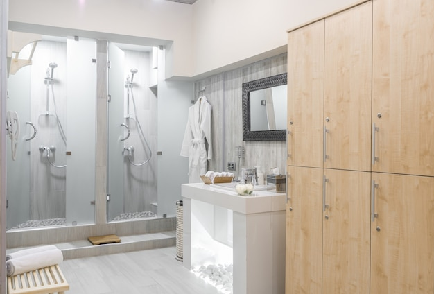Interno moderno della doccia con guardaroba