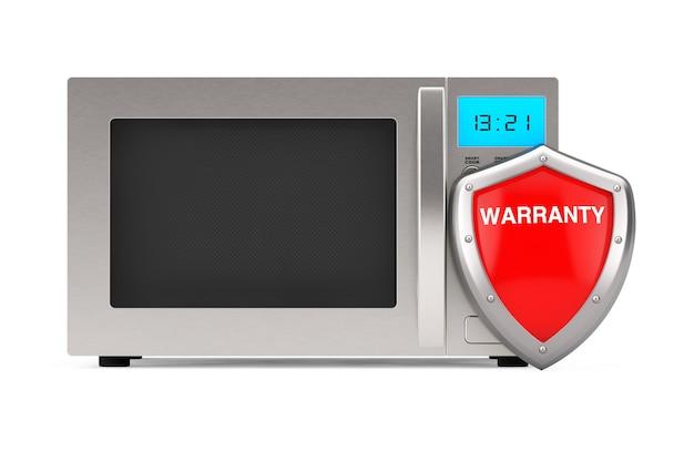Forno a microonde d'argento moderno con lo schermo rosso della garanzia di protezione del metallo su un fondo bianco. rendering 3d