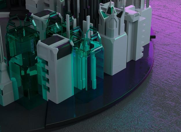 Moderno sity 3d illustrazione rendering