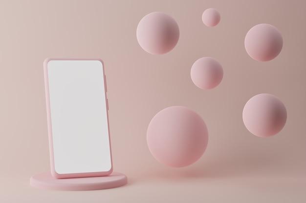 Smartphone moderno sul podio con bolle volanti su sfondo rosa d render