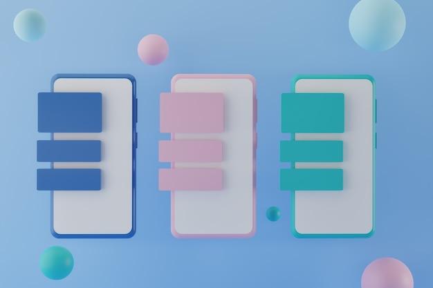 Smartphone moderni con messaggi applicativi su sfondo blu d rendering