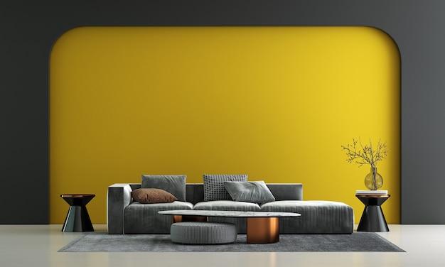 Decorazione moderna del divano e interno del soggiorno e sfondo giallo vuoto del modello della parete