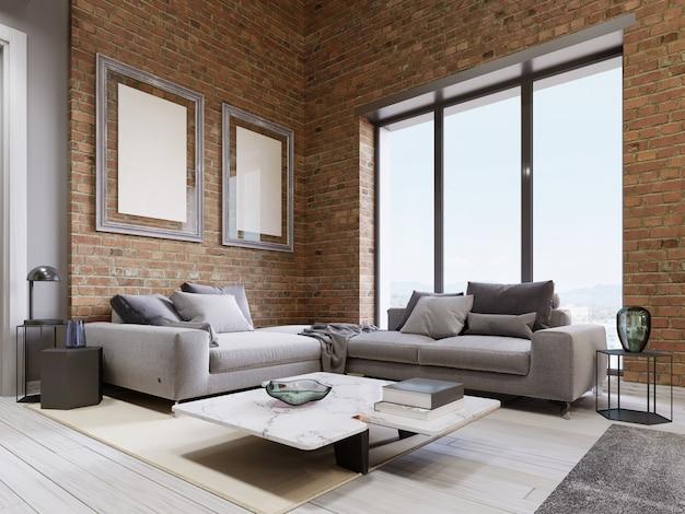 Divano moderno con finestre panoramiche nel soggiorno a soppalco. rendering 3d