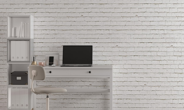 Interior design moderno della sala studio con decorazioni e mobili vuoti mock up e priorità bassa del muro di mattoni bianchi, rendering 3d, illustrazione 3d
