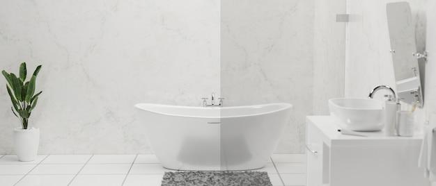 Interno del bagno moderno ed elegante con vasca da bagno di lusso, lavabo in ceramica e rubinetto sul bancone, specchio, pianta da interno su pavimento in piastrelle bianche e parete in marmo, rendering 3d, illustrazione 3d