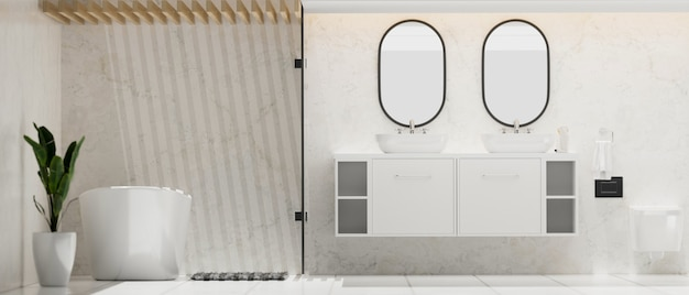 Bagno spazioso ed elegante moderno con doppio specchio rotondo e lavabo su vasca da bagno mobile