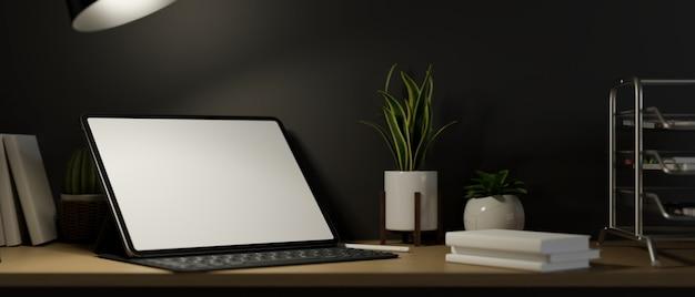 Posto di lavoro moderno ed elegante con mockup di tablet digitale in ufficio scuro 3d rendering di sera