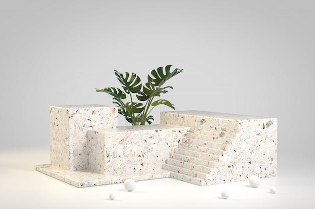 Il podio moderno del marmo di terrazzo con la pianta verde di monstera 3d rende