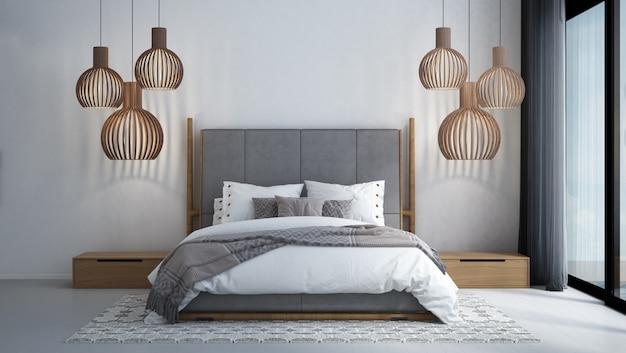 Interior design tropicale moderno della camera da letto e fondo bianco della parete di struttura