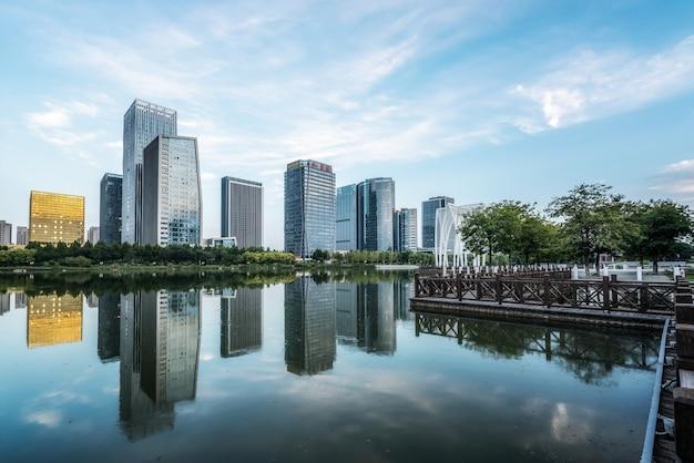 Paesaggio di architettura urbana moderna a zibo, cina