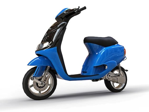 Ciclomotore nero e blu urbano moderno su una superficie bianca