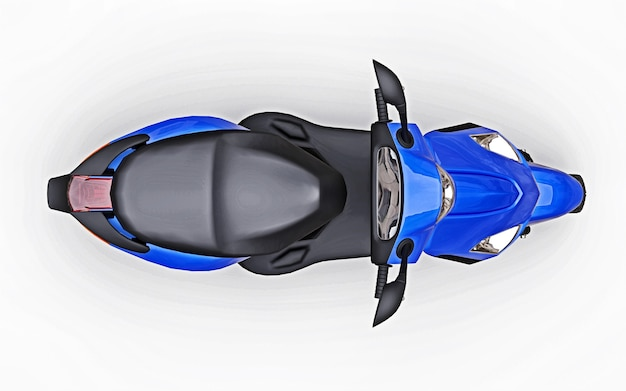 Ciclomotore urbano moderno blu su sfondo bianco. illustrazione 3d.