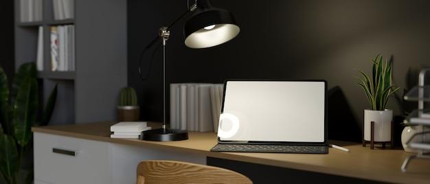 Spazio di lavoro urbano moderno dell'ufficio domestico con il modello della compressa digitale sulla rappresentazione 3d della tavola di legno
