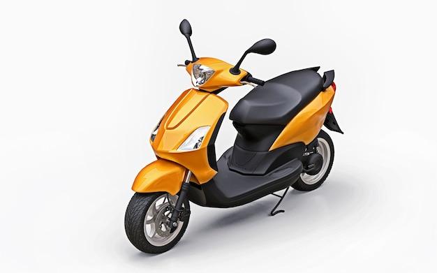 Ciclomotore arancione urbano moderno su una superficie bianca