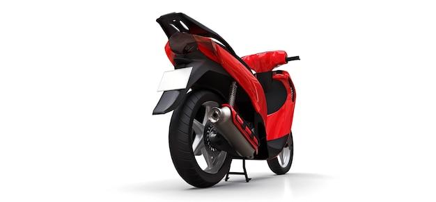 Ciclomotore rosso urbano moderno su una priorità bassa bianca. illustrazione 3d.