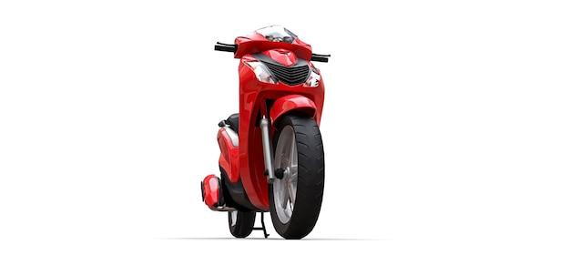 Ciclomotore urbano moderno rosso su sfondo bianco. illustrazione 3d.