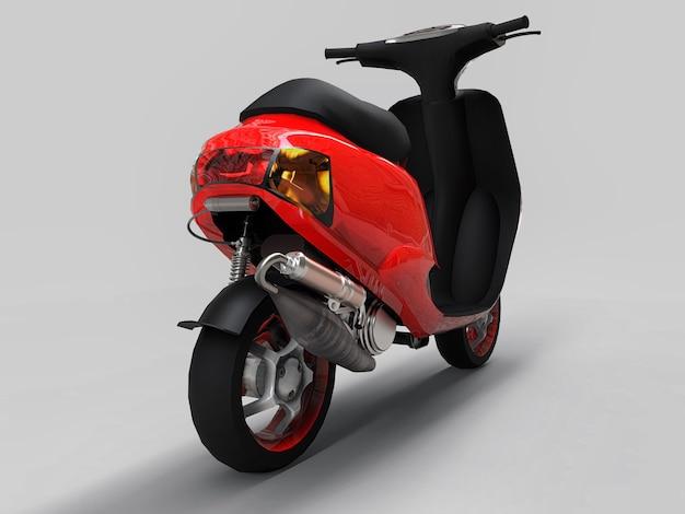 Ciclomotore urbano moderno rosso e bianco su sfondo grigio chiaro. illustrazione 3d.