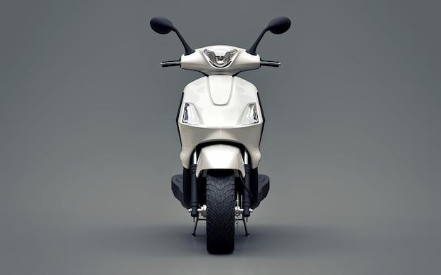 Ciclomotore bianco urbano moderno su una superficie grigia