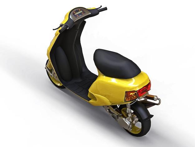 Ciclomotore giallo urbano moderno su una superficie bianca