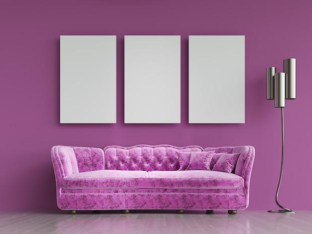 Divano moderno in tessuto viola in stile chesterfield all'interno della stanza viola con cornice sul muro. rendering 3d.