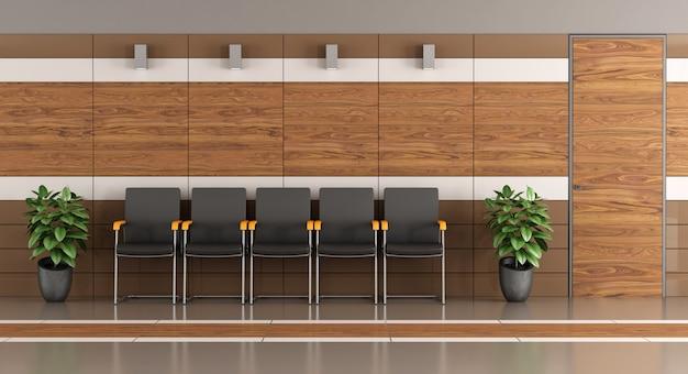 Moderna sala d'attesa con pareti in legno