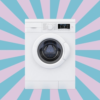 Lavatrice moderna su uno sfondo rosa e blu a forma di stella vintage. rendering 3d