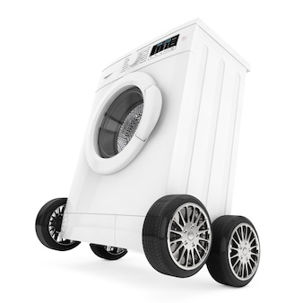 Lavatrice moderna su ruote su sfondo bianco. rendering 3d.