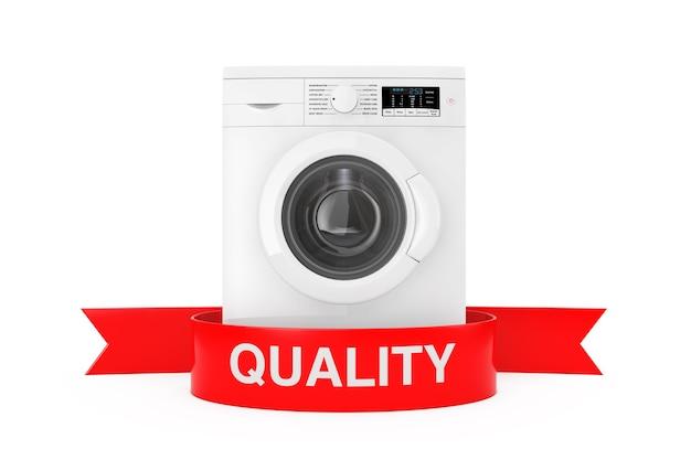 Lavatrice moderna con il segno di qualità del nastro rosso su una rappresentazione 3d del fondo bianco