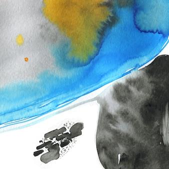 Moderna struttura astratta dell'acquerello che scorre l'inchiostro dipinge mix di colori grigio nero blu e arancione