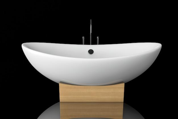 Vasca da bagno moderna bianca su sfondo nero