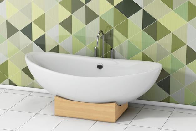 Vasca da bagno bianca moderna davanti alle piastrelle geometriche verde oliva in primo piano estremo del bagno. rendering 3d
