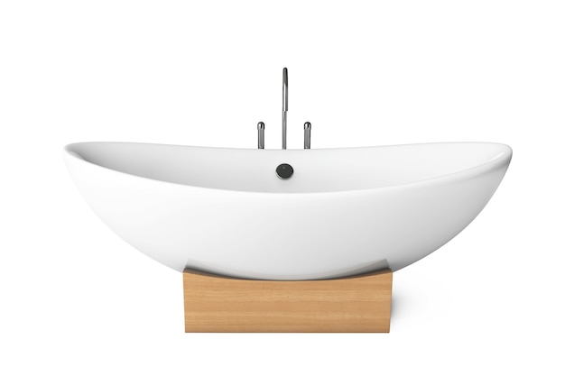 Vasca da bagno moderna bianca su sfondo bianco