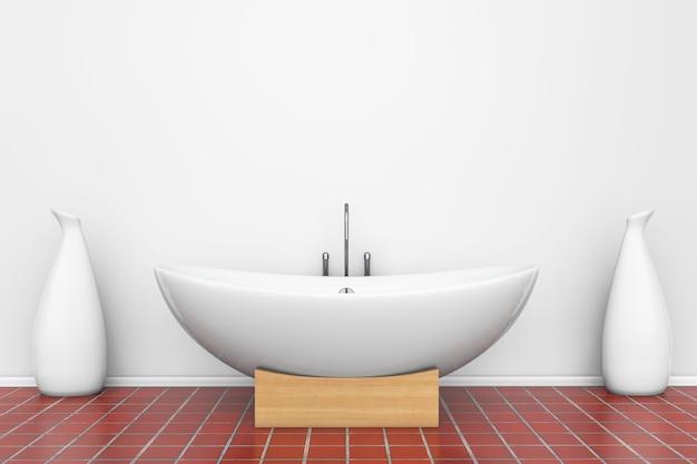 Moderna vasca da bagno bianca con vasi in un bagno