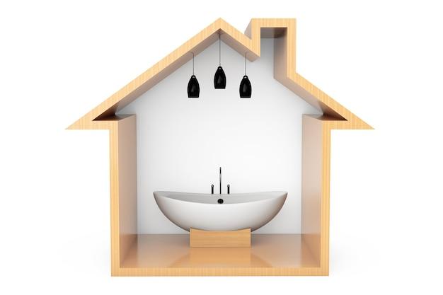 Vasca da bagno bianca moderna nel profilo della casa di legno su un fondo bianco
