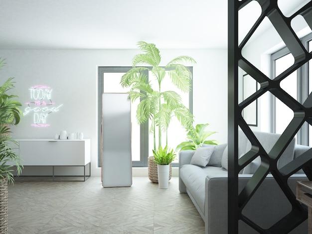 Moderna camera da letto bianca con molte piante da interno e un grande specchio
