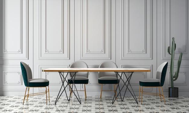 Bianco moderno sala da pranzo dal design interno con decorazioni e vuoto mock up picture frame rendering 3d, illustrazione 3d