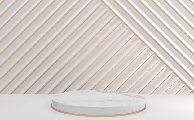 Il moderno sfondo bianco e oro e il design del podio del cerchio bianco. rendering 3d