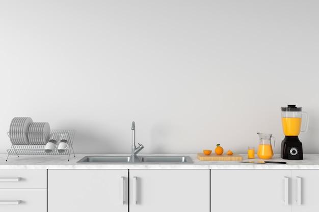 Controsoffitto cucina moderna bianca con lavello per mockup