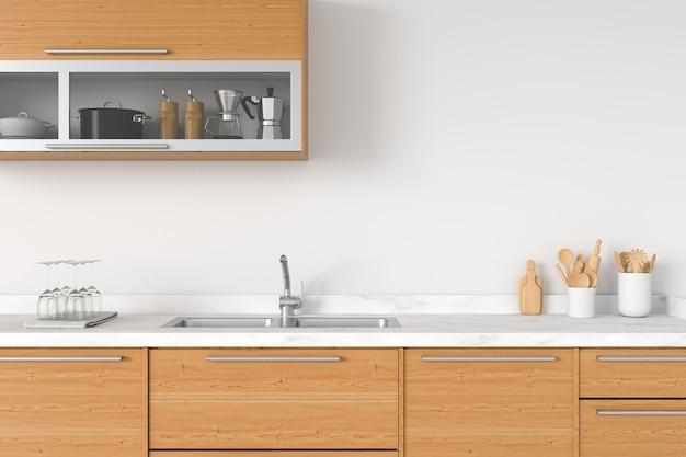 Controsoffitto cucina moderna bianca con lavello