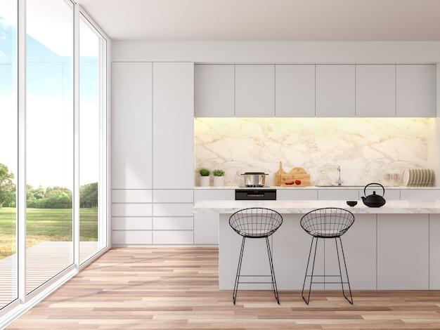 Cucina bianca moderna con vista giardino garden