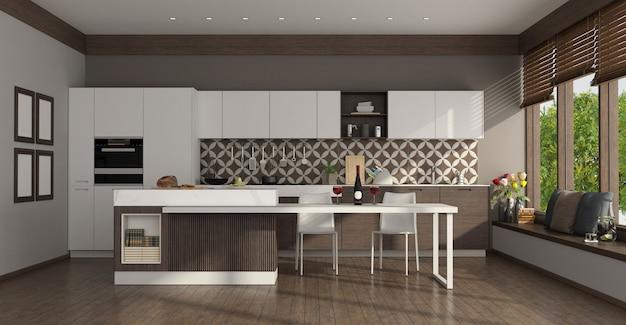 Cucina bianca moderna con isola, tavolo da pranzo e grandi finestre - rendering 3d