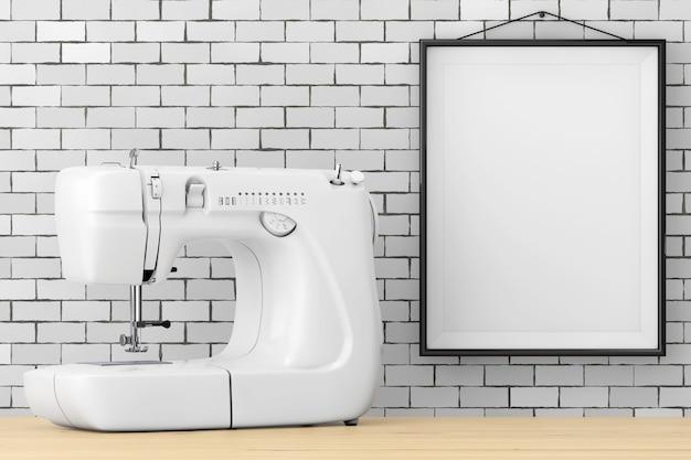 Macchina da cucire bianca moderna davanti al muro di mattoni con il primo piano estremo della struttura in bianco. rendering 3d.
