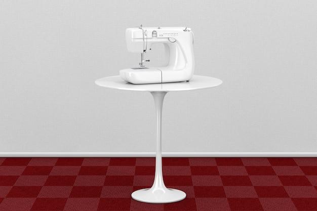 Moderna macchina da cucire bianca su tavola rotonda bianca in camera con pavimento in moquette rossa e primo piano estremo della parete bianca. rendering 3d