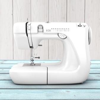 Macchina da cucire bianca moderna su una tavola di legno. rendering 3d