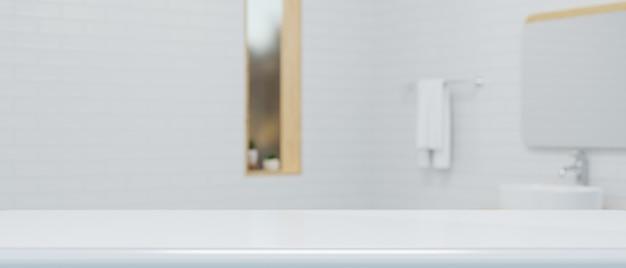 Tavolo bianco moderno per la visualizzazione di un'illustrazione 3d del fondo interno del bagno igienico bianco